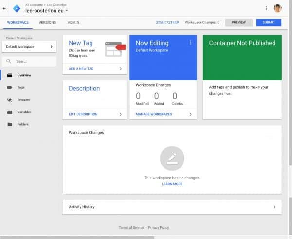 Google Tag Manager - Dashboard