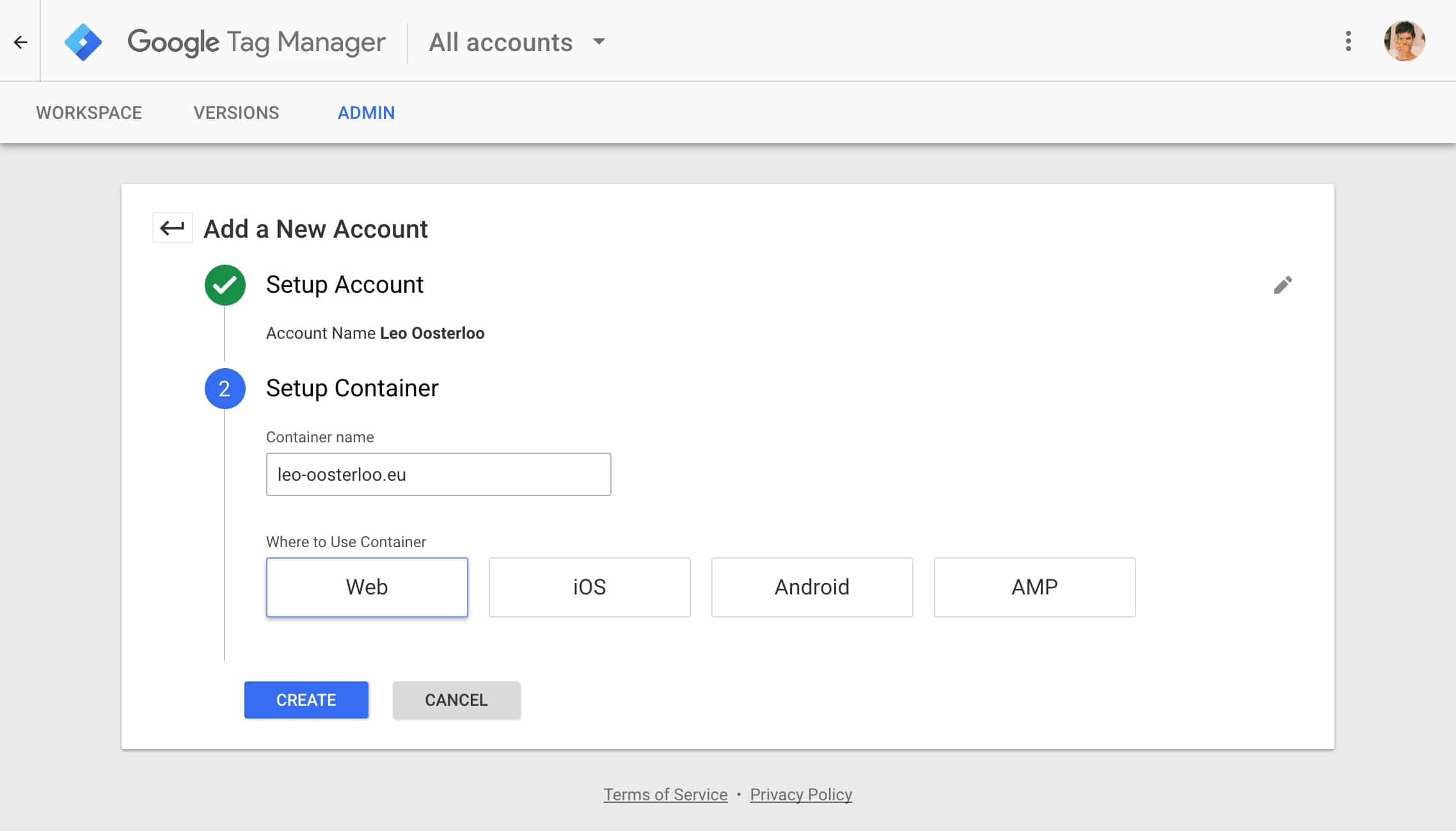 Google Tag Manager - Setup account